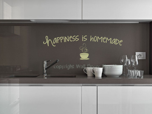 Happiness is Homemade Saying for the Kitchen Decor, Vinyl Kitchen Wall Decals