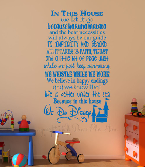 In This House.... We Do Disney, Wall Decals Letters, Wall Stickers for Cool Room Decor