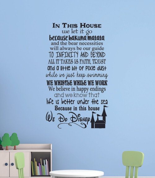 in this house. we do disney, wall decals letters for cool room decor