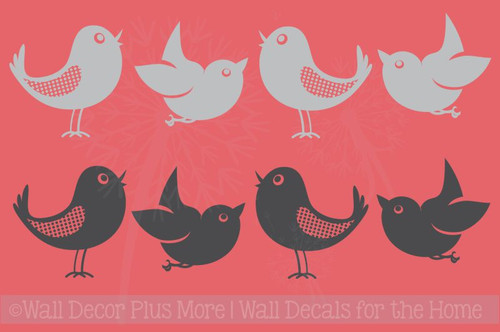 Set of 8 Bird Wall Decals in 2 Colors, 5-Inch size, Modern Girls Room Decor