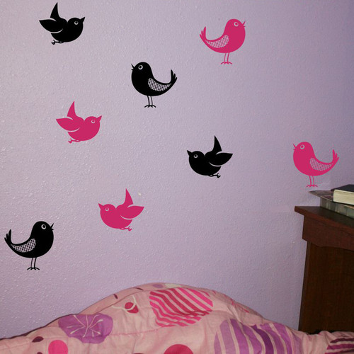 Set of 8 Bird Wall Decals in 2 Colors, 5-Inch size, Modern Girls Room Decor-Black, Hot Pink