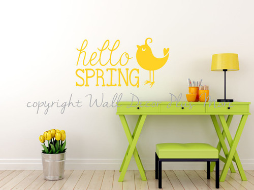 Hello Spring- Wall Words Decals Stickers, Seasonal Vinyl Stickers with Bird Art-Light Yellow