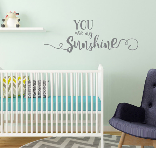 You are My Sunshine Wall Decal Vinyl Stickers for Nursery Decor Storm Gray