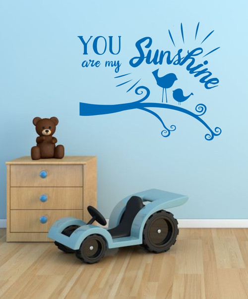 You are My Sunshine Quote Birds and Branch Nursery Wall Art Decal Stickers