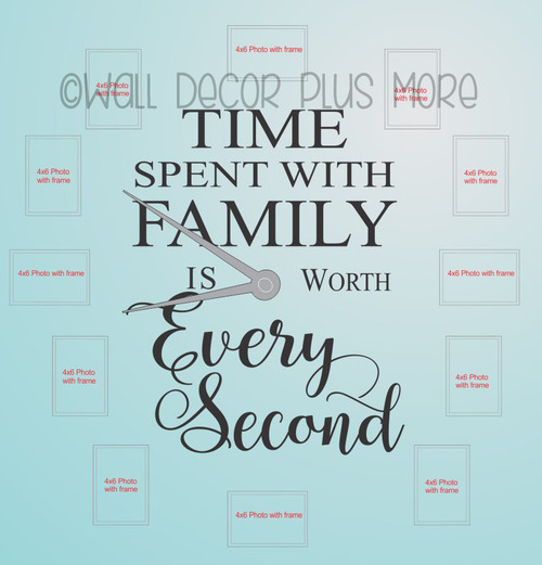 Time Spent with Family Worth Every Second Letter for Clock Arrangement Vinyl Wall Decals