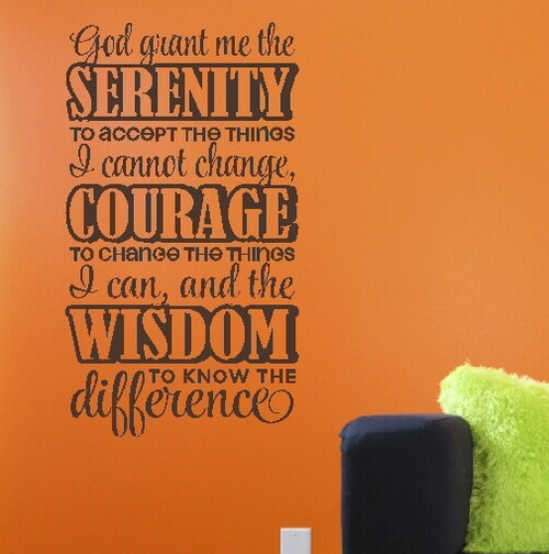 Serenity Prayer: God Grant Serenity, Courage, and Wisdom Religious Wall Sticker For Kitchen or Bedroom Wall Decor