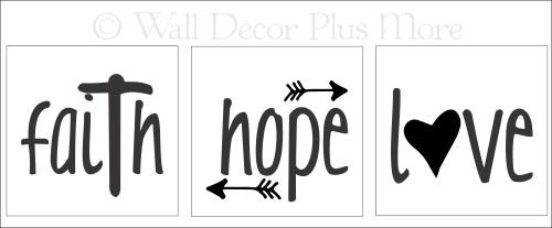 Faith Hope Love Vinyl Stickers Lettering design for LED Candles