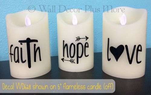 Faith Hope Love Vinyl Stickers Lettering design for LED Candles - shown in color black in OFF position