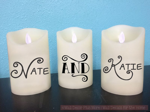 "Personalized Names Vinyl Stickers Lettering Decals for LED Flame-less Candles-Black  Shown on 5"" candle"