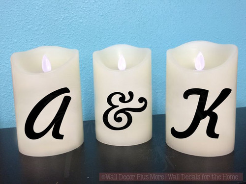 "Monogram Initials Vinyl Stickers Lettering Decals for LED Flameless Candles-Shown on 5"" Candle"