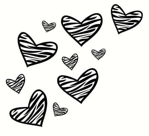 Fun Zebra Heart Wall Décor Stickers Black