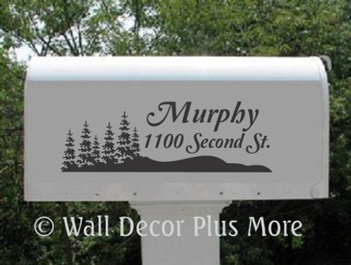 Personalized Mailbox Vinyl Decal Stickers with Name Address and Forest Tree Scene