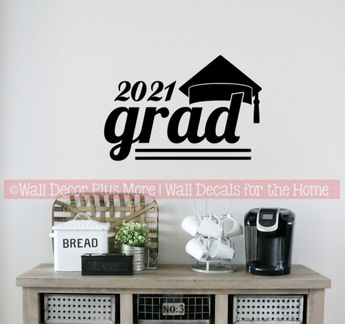 Class of 2021 Grad with Graduation Hat Art Vinyl Wall Decals Stickers for Party Decor-Black