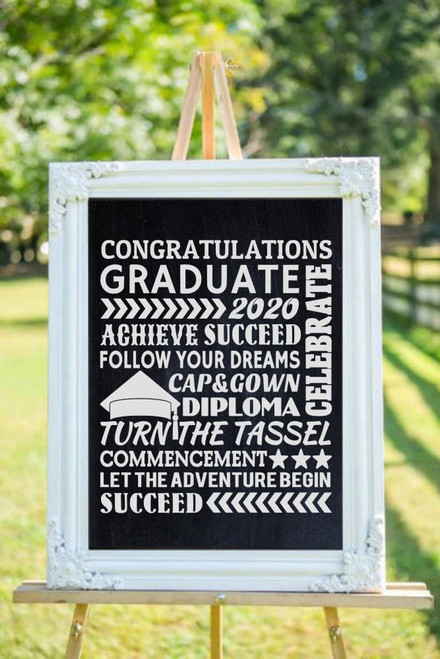 Congrats Grad Achieve Success Follow Your Dreams Let the Adventure Begin Subway Art Lettering Graduation Decor Wall Art Vinyl Wall Stickers white on chalkboard