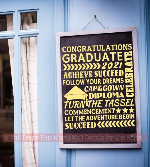 Congrats Grad Achieve Success Follow Your Dreams Let the Adventure Begin Subway Art Lettering Graduation Decor Wall Art Vinyl Wall Stickers buttercream on chalkboard