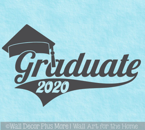 Class of 2020 Graduate with Swoop and Graduation Cap Vinyl Wall Stickers Great for Graduation Party Sign Decor