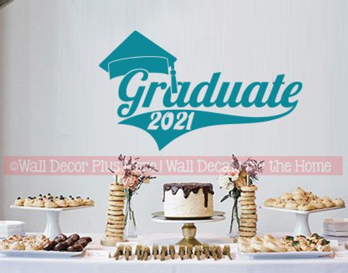 Class of 2021 Graduate with Swoop and Graduation Cap Vinyl Wall Stickers Great for Graduation Party Sign Decor in Teal
