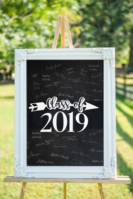 Class of 2019 Arrow Wall Art Graduation Decals Sticker for Senior High School Graduates White Decal on Chalkboard Sign