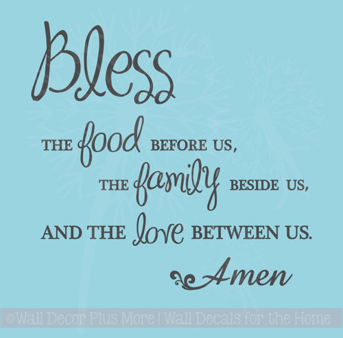 Bless Food Family Love Wall Sticker Decals Kitchen Quote