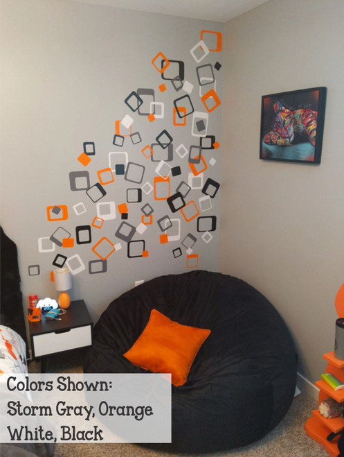 Funky Square Wall Vinyl Stickers Shapes Orange, White, Storm Gray, Orange
