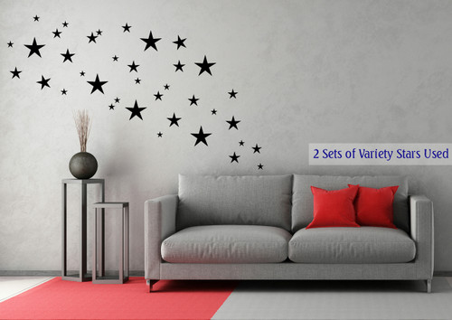 Variety Star Wall Stickers Vinyl Decals Shapes Black