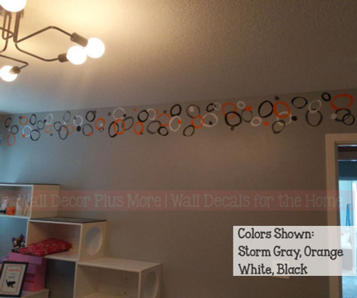 Funky Circles Vinyl Wall Stickers Shapes Orange, Storm Gray, White, Black