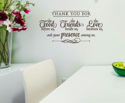 Thank You for Food, Friends, Love Wall Decal Stickers Kitchen Wall Words