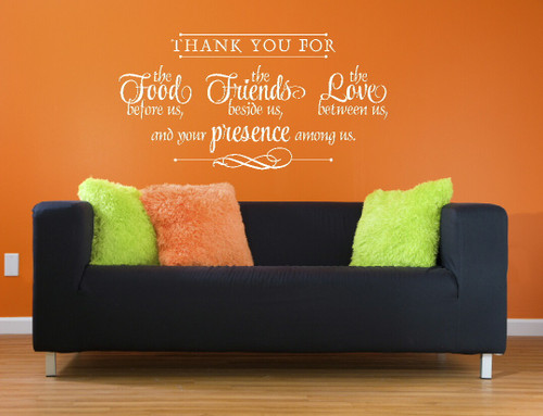 Thank You for Food, Friends, Love, and Presence Kitchen Wall Decal Quote Religious White