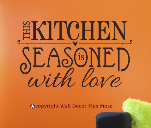 Kitchen Wall Sticker Seasoned with Love Wall Art Decal Quote Black