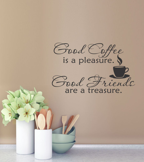 Good Coffee Good Friends Kitchen Wall Decal Quote Vinyl Stickers