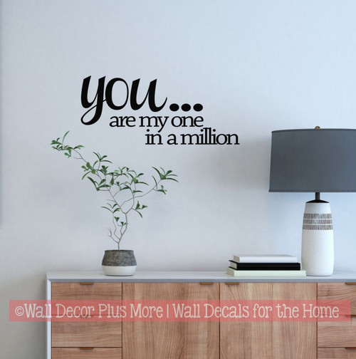 Love Inspirational Quotes You Are My One in a Million Wall Decals Stickers for Master Bedroom Wedding Entry Way Home Decor