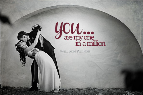 Love Quotes One in a Million Wall Decals Stickers for Master Bedroom Wedding