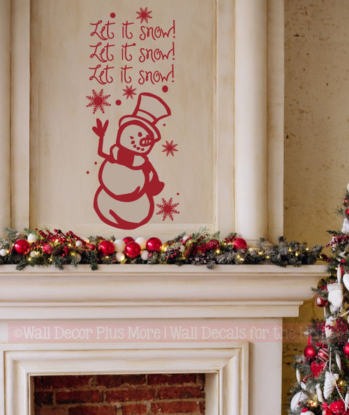 Let It Snow with Snowflakes and Snowman Winter Wall Art Decal Stickers Winter home decor wall art Red Fireplace decor