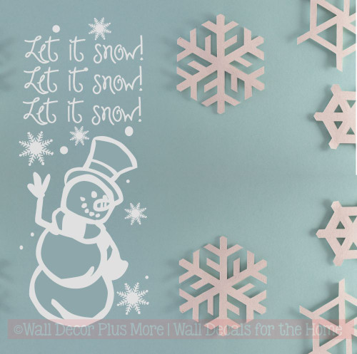 Let It Snow with Snowflakes and Snowman Winter Wall Art Decal Stickers Winter home decor white snowflake wall art
