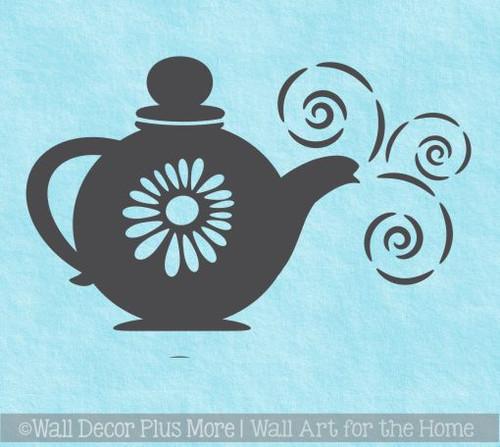 Teapot with Steam Wall Sticker Decals Kitchen Room Décor