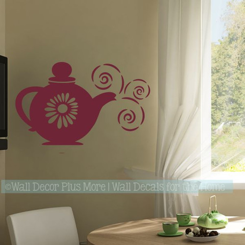 Teapot with Steam Wall Sticker Decals Kitchen Room Décor-Burgundy