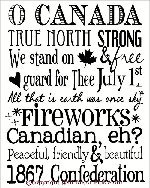 Canadian Quotes and Patriotic Phrases Subway Art Vinyl Wall Sticker Decals