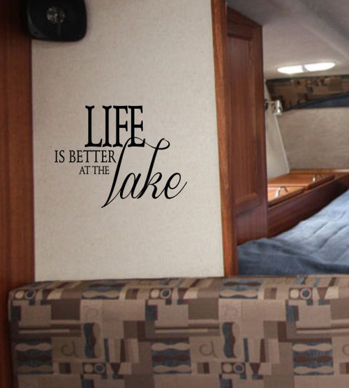 Life is Better at the Lake Summer Camper Wall Décor Vinyl Decal Stickers Black