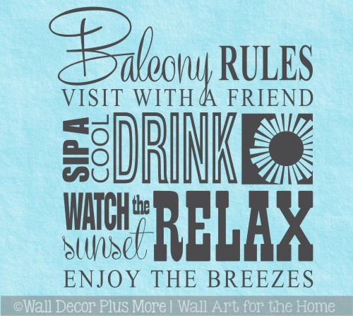 Balcony Rules Subway Art Phrases and Quote Wall Decal Stickers for Home Décor Apartment living