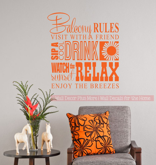 Balcony Rules Subway Art Phrases Quote Wall Decal Stickers for Home Décor Apartment Orange