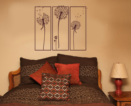Dandelions Floating in 3 Squares Wall Decal Stickers Popular Art for Home Decor