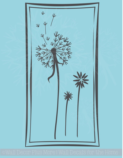 Floating Dandelions in a Square Frame, 12x24, Wall Decal Stickers for Home Decor