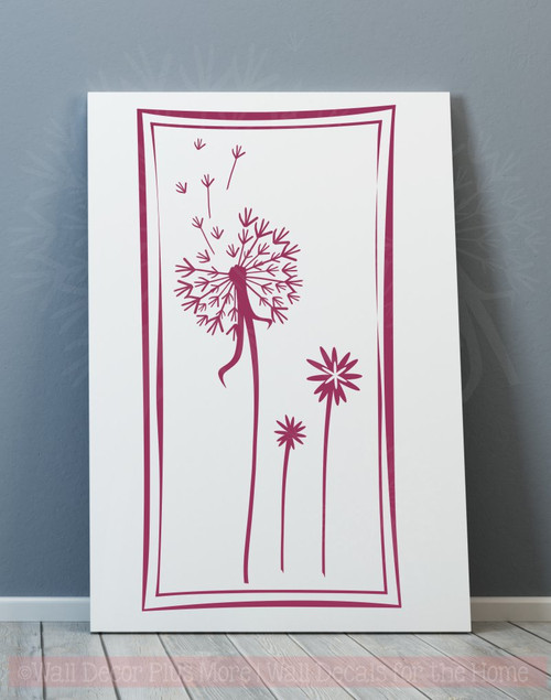 Floating Dandelions in a Square Frame, 12x24, Wall Decal Stickers for Home Decor-Berry