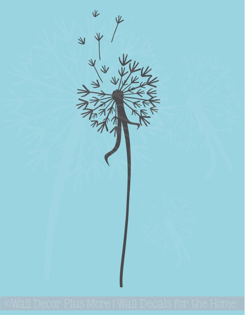 Single Dandelion Wall Decor Vinyl Decal Stickers with Floating Petals, 7x24