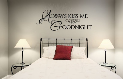 Always Kiss Me Goodnight Wall Sayings for Bedroom Wall Stickers Decal Lg Black