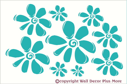 Flower Wall Stickers Vinyl Decal for Girls Room Decor Turquoise