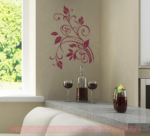 Small Floral2 Vine Wall Art Decal 9x13-Burgundy