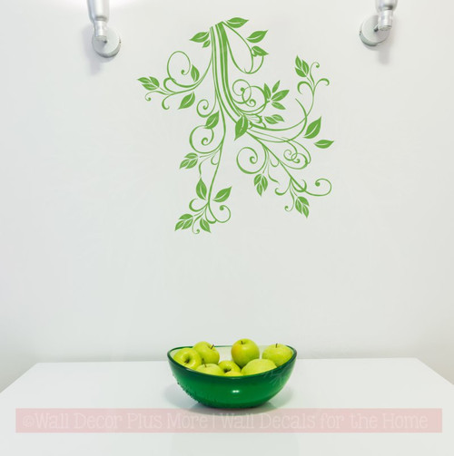 Floral1 Flower Leaf & Vine Wall Art Decals Stickers 15x16-Lime Green