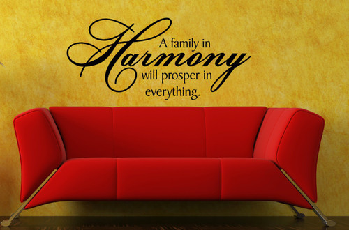 A Family in Harmony Wall Decal Vinyl Stickers Quote for Home Decor Black