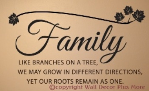 Family Branches Quote leaves Wall Art Words Vinyl Decal Stickers
